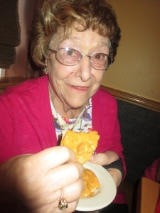 Mom tasting the Nachos
